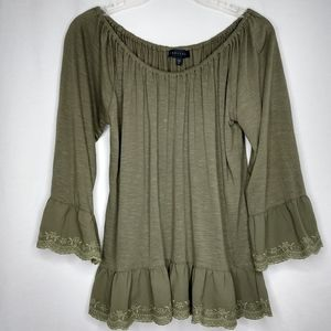 Sanctuary Med Army Green Long Sleeve Eyelet Top